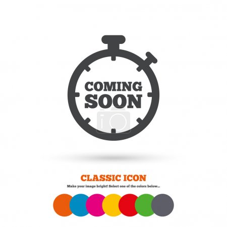 Coming soon, promotion icon.