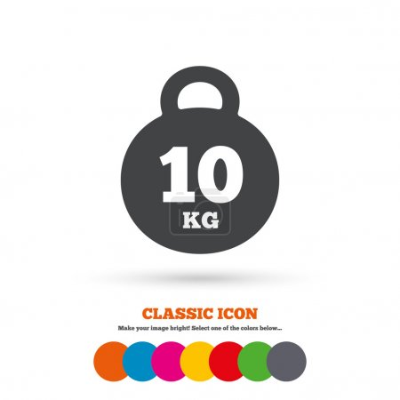 Weight sign icon. 10 kilogram (kg). Sport symbol. ...