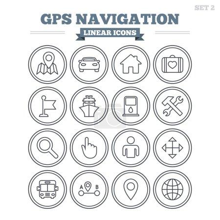 GPS navigation linear icons set