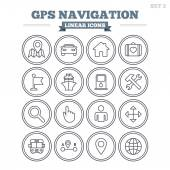 GPS navigation linear icons set