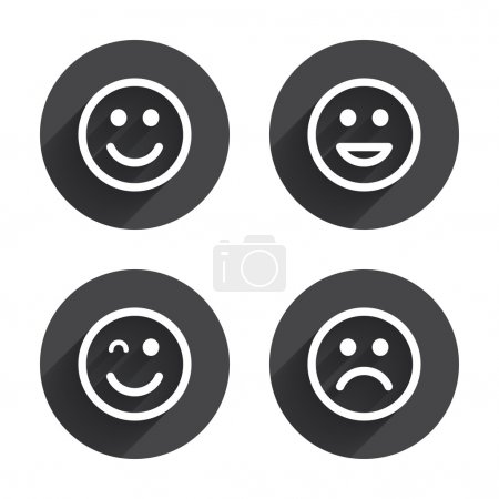 Illustration for Smile icons. Happy, sad and wink faces symbol. Laughing lol smiley signs. Circles buttons with long flat shadow. Vector - Royalty Free Image