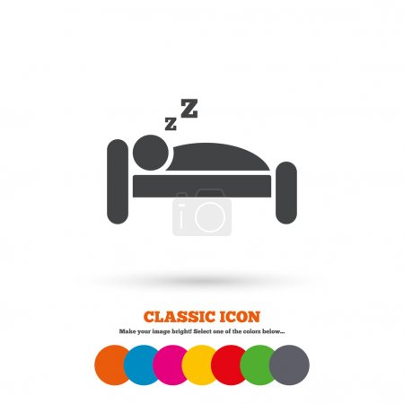 Illustration for Hotel apartment sign icon. Travel rest place. Sleeper symbol. Classic flat icon. Colored circles. Vector - Royalty Free Image