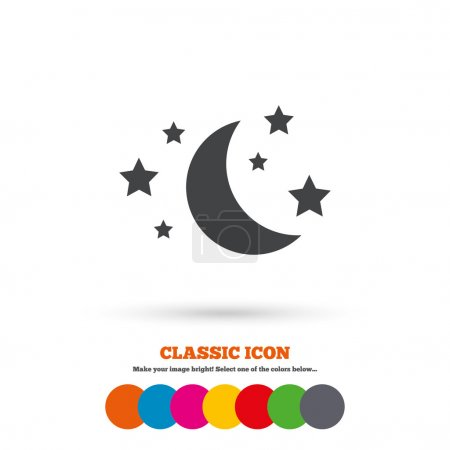 Moon and stars, Sleep, dreams icon.