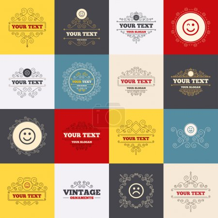 Illustration for Vintage frames, labels. Smile icons. Happy, sad and wink faces symbol. Laughing lol smiley signs. Scroll elements. Vector - Royalty Free Image