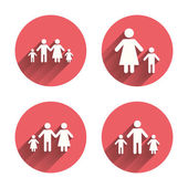 Family with two children icon Parents and kids symbols One-parent family signs Mother and father divorce Pink circles flat buttons with shadow Vector
