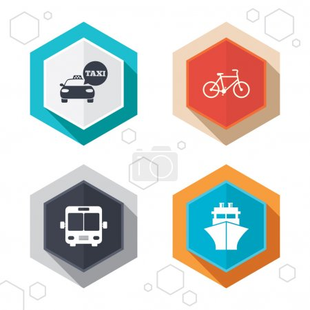 Transport icons. Taxi car, Bicycle