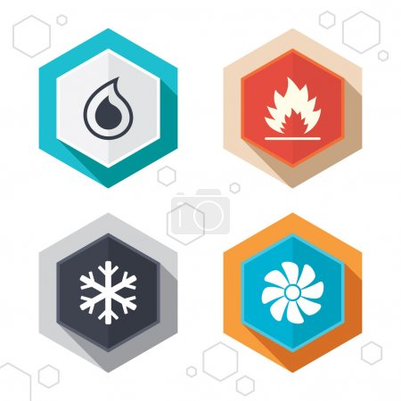 Illustration for Hexagon buttons. HVAC icons. Heating, ventilating and air conditioning symbols. Water supply. Climate control technology signs. Labels with shadow. Vector - Royalty Free Image