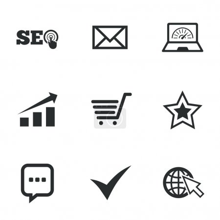 Internet, seo icons. Tick, online shopping and cha...