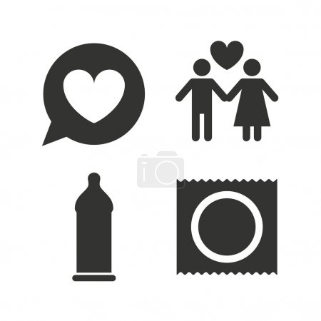 Condom safe sex icons.