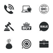 Online shopping e-commerce and business icons Auction phone call and sale signs Cash money case and target symbols Flat icons on white Vector