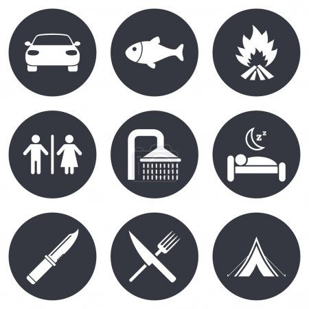 Illustration for Hiking travel icons. Camping, shower and wc toilet signs. Tourist tent, fork and knife symbols. Gray flat circle buttons. Vector - Royalty Free Image