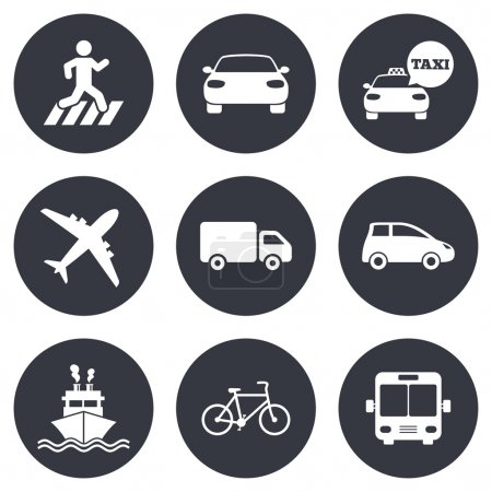 Transport icons. Car, bike, bus