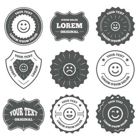Smile icons. Happy, sad