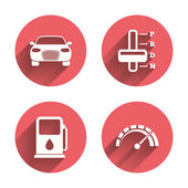 Transport icons Tachometer and petrol station