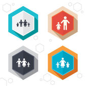 Hexagon buttons Family with two children icon Parents and kids symbols One-parent family signs Mother and father divorce Labels with shadow Vector