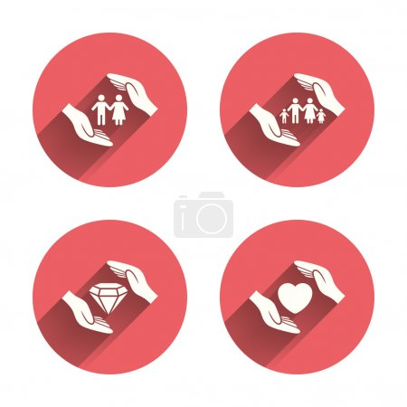 Illustration for Hands insurance icons. Couple and family life insurance symbols. Heart health sign. Diamond jewelry symbol. Pink circles flat buttons with shadow. Vector - Royalty Free Image