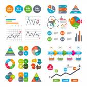 Business data pie charts graphs Sale discount icons Special offer price signs 20 30 40 and 50 percent off reduction symbols Market report presentation Vector