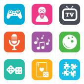 Entertainment icons Game bowling and puzzle