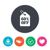 60% sale price tag sign icon Discount symbol Special offer label Download arrow handshake tick and heart Flat circle buttons