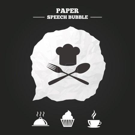 Illustration pour Icônes de la nourriture et des boissons. Muffin cupcake symbole. Fourchette et cuillère avec signe Chef chapeau. Une tasse de café chaude. Plat de service. Bulle de discours papier avec icône . - image libre de droit