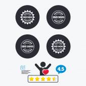 ISO 9001 and 14001 certified icons Certification star stamps symbols Quality standard signs Star vote ranking Client like and think bubble Quotes with message