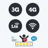 Mobile telecommunications icons 3G 4G and LTE technology symbols Wi-fi Wireless and Long-Term evolution signs Star vote ranking Client like and think bubble Quotes with message