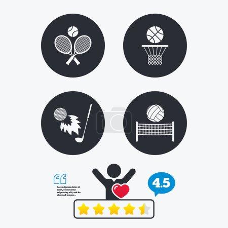 Tennis rackets with ball. Basketball basket.