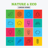 Nature and Eco icons Trees leaf and tulip or rose flower Planet and water drop Energy saving lamp electric plug and house building Linear icons in colored squares