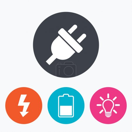 Illustration for Electric plug icon. Light lamp and battery half symbols. Low electricity and idea signs. Circle flat buttons with icon. - Royalty Free Image