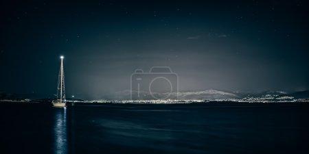 Split sea side by the night