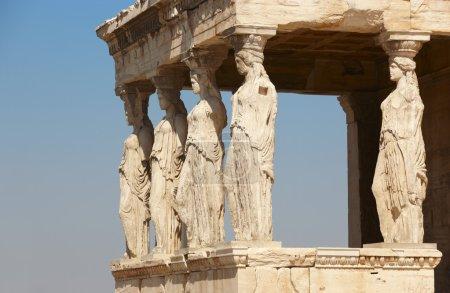 Acropole d'Athènes. Colonnes de caryatides. Grèce