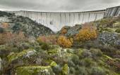 Landscape with dam in Spain. La Almendra. Arribes del Duero