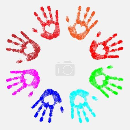 Illustration pour Silhouettes de mains de couleur arc-en-ciel avec des cœurs dans les paumes - image libre de droit