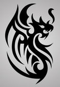 A tribal dragon tattoo design on a grey background
