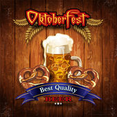 Oktoberfest Beer with wood vintage- Grunge effects can be removed- Transparency blending effects and gradient mesh-EPS 10
