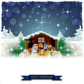 Nativity with snow-covered hut