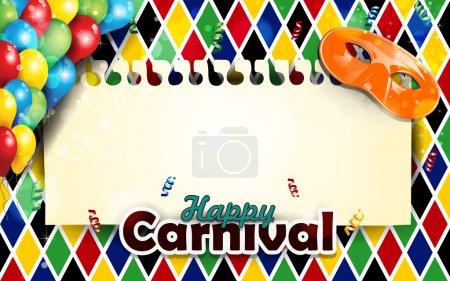 Carnival masks and harlequin decor vertical
