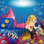 Постер, плакат: Mermaid with Pearl in the bottom of the sea