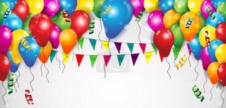 Illustration pour Drapeaux Ballons et confettis pour fêtes Anniversaire avec espace pour insérer vos effets de mélange texte-transparence et gradient mesh-EPS 1 - image libre de droit