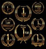 Anniversary golden laurel wreath retro vintage design 1 year