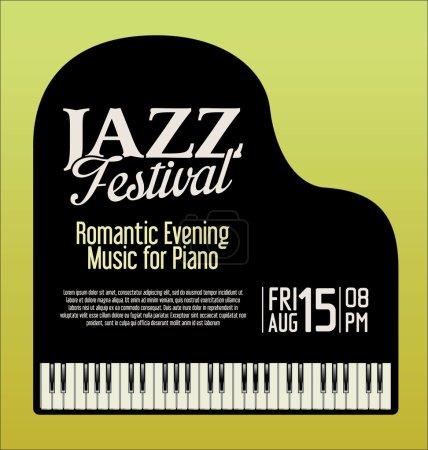 Illustration pour Festival de musique jazz piano fond du soir - image libre de droit