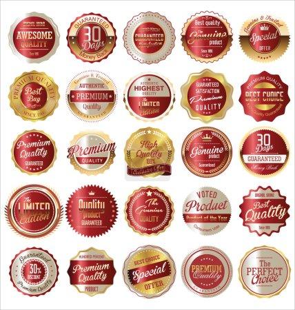 """Illustration pour Premium, collection d """"étiquettes dorées vintage rétro de qualité - image libre de droit"""