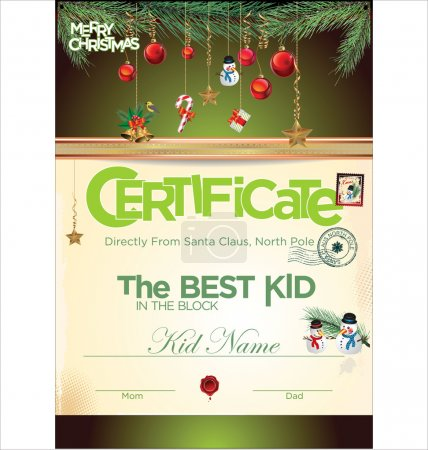 Illustration for Kids certificate for Christmas - Royalty Free Image