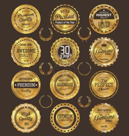 Colección de etiquetas doradas de calidad premium