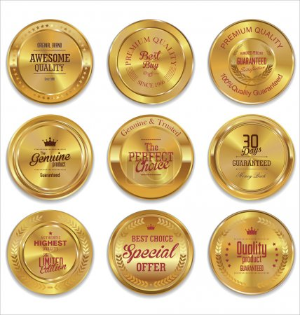 Golden metal badges colection