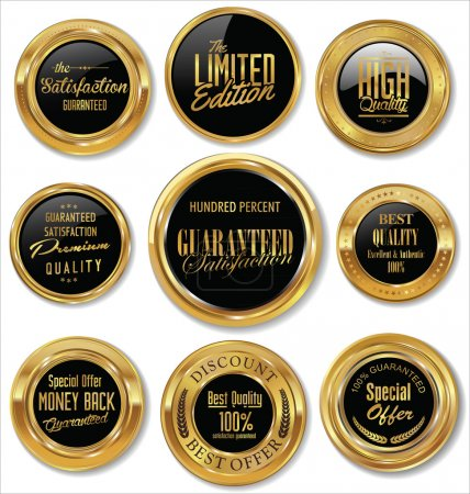 Illustration for Premium quality gold and brown badges - Royalty Free Image