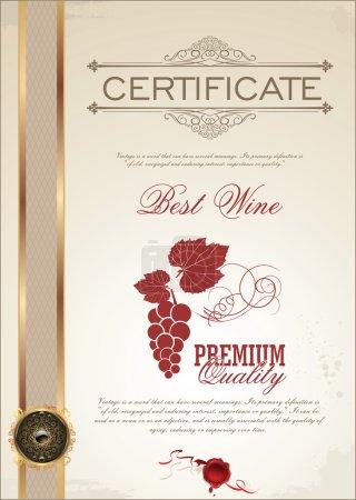 Illustration pour Certificat, étiquettes et médaille - Meilleur vin - image libre de droit