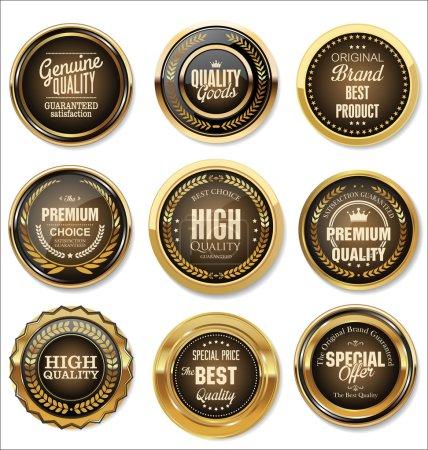 Illustration for Set of Golden Premium Quality Labels on white - Royalty Free Image