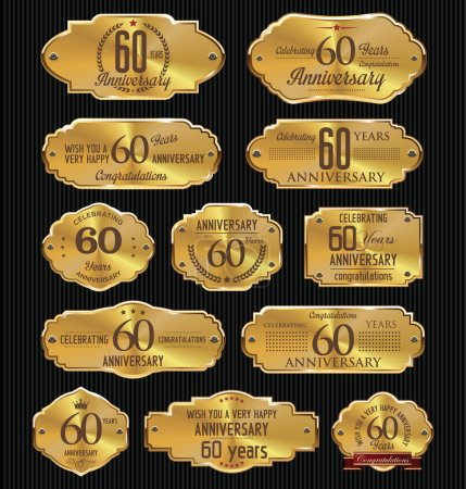 Illustration for Anniversary golden labels collection,  60 years - Royalty Free Image