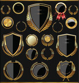 Golden shields laurels and medals collection